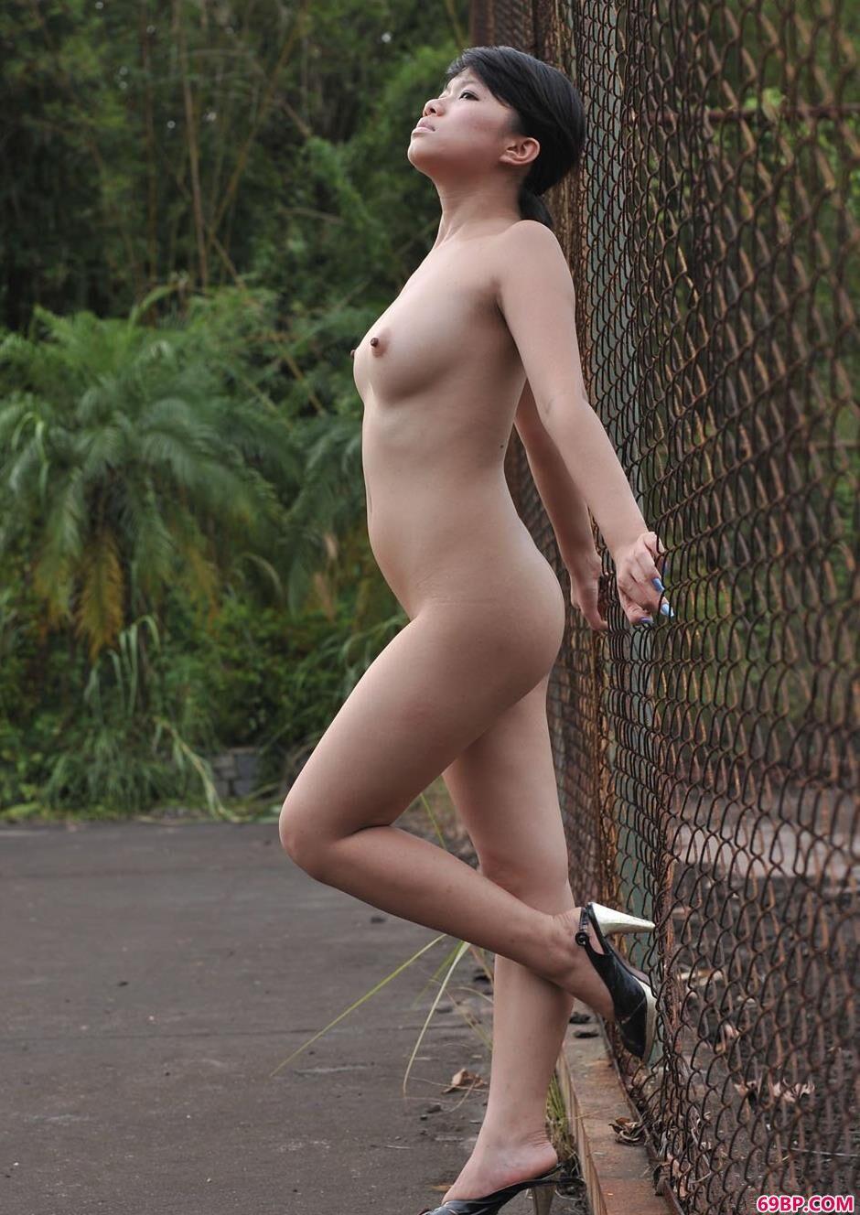 嫩模叮当郊外铁丝网前的诱惑美体